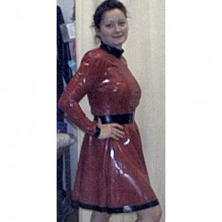 Kleid - JENNY - Latex 0,5mm - Rot-metallic - L