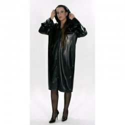 Coat - Rita - Soft PVC - Black - XXL